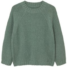 Chunky-Knit Sweater (1.715 RUB) ❤ liked on Polyvore featuring tops, sweaters, cable sweaters, green cable knit sweater, long sleeve tops, cable-knit sweater and round top