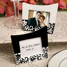 Black & White Complementary Patterned Place Card Holders/Photo Frames (Set of 2)
