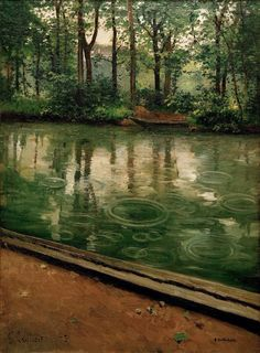 The Yerres Rain Effect, Caillebotte, oil on canvas, 1875. Notice the water ripples.