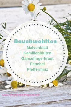 Einen Bauchwehtee für Kinder mische ich mit folgenden Kräutern zu gleichen Teilen: Malvenblatt (Folium Malvae), Kamillenblüte (Matricariae flos), Gänsefingerkraut (Herba Anserinae), Fenchel (Fructus Foeniculi) und Pfefferminz (Folium Menthae). Wie dieser Tee wirkt und weitere Tipps gegen Bauchschmerzen bei Kindern findest du auf www.natuerlichbleibstgsund.com Decorative Plates, Table Decorations, Fitness, Mint Tea, Medicinal Plants, Dinner Table Decorations