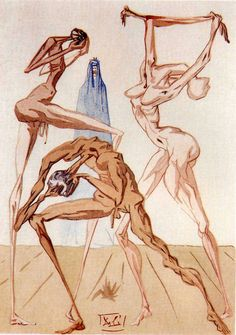 Salvador Dalí. Illustrations for Dante's Divine Comedy.  The Sodomites.  In 1957, the Italian government commissioned Salvador Dalí to create 100 watercolors to illustrate Dante's Divine Comedy