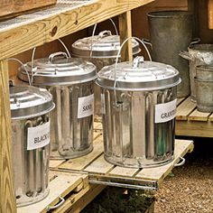 Organize Your Garden Shed Easy Access Sliding shelves on the lower level of the benches make it simple to reach potting mixes and other supplies