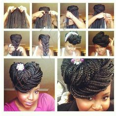 Senegalese twists updo hairstyle