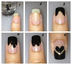 #black #hearts #nail
