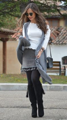 """Gris - As first seen on blog """"1000 maneras de vestir"""" here: Gris She is wearing tights similar here: Black Super Opaque Tights These super opaque tights are 90 denier tights that do not provide a control top. These tights have an elastic waistband and opaque legs for overall coverage. These tights are functional comfortable and stylish. #tights #pantyhose #hosiery #nylons #tightslover #pantyhoselover #nylonlover #legs"""