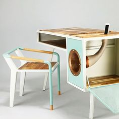 The Soundbox Desk and Seat Mint green White Rose gold Wood