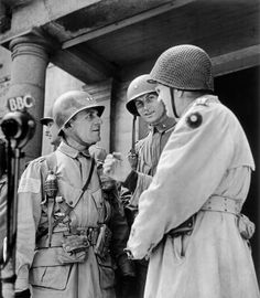 June 26th, 1944. US Major-General Mathew B RIDGEWAY (left), commander of the US 82nd Airborne Division and US Gen. Jospeh LAWTON COLLINS (right, in profile), commander of the US VII Corps.