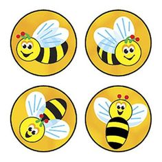 800 colourful Bees Buzz reward stickers in 4 different designs ideal for praising good behaviour or marking charts and work Bee Activities, Bee Cupcakes, Reward Stickers, Bee Cards, Cute Bee, Personalized Stickers, Classroom Themes, Classroom Door, Kindergarten