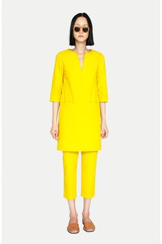 Lemon yellow tunic and capris by Apiece Apart