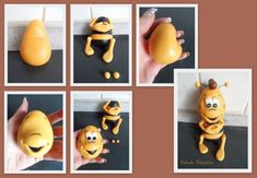 Fondant Animals Tutorial, Fondant Tutorial, Bee Cakes, Cupcake Cakes, Cupcake Toppers, Clay Projects, Clay Crafts, Biscuit, Bee Creative