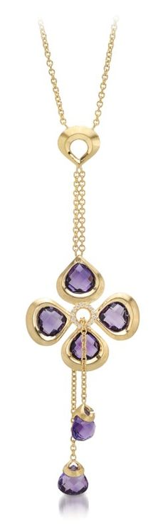 THE VIOLETTO BY COLOUR COLLECTION ~ An 18k yellow gold Violetto Tie-necklace, set with purple amethyst stones, adorned with diamonds by Padani
