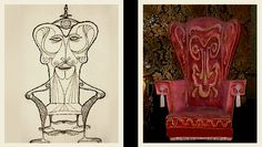 Rolly Crump's chair design on the left and actual chair in the Haunted Mansion attraction