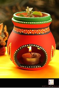 60 New Ideas For Garden Decoration Ideas Money - Modern Thali Decoration Ideas, Diy Diwali Decorations, Festival Decorations, Pottery Painting Designs, Pottery Designs, Pottery Art, Pottery Ideas, Indian Crafts, Indian Home Decor