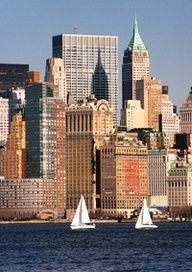 NYC. Take a boat, ride across the river to catch these beautiful skyscrapers!  #NYC #NewYorkCity #NewYork