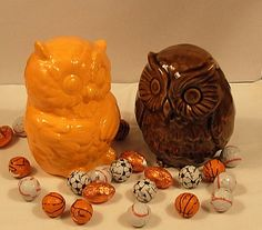 Hootie  Ceramic Owl Figurines     Pumpkin Orange by ceramicsbylisa, $19.95