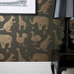 kids room. cool. (via INTERIORS: STARK STREET HOME / metallic animals on velvety dark green, love)