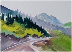 Watercolor landscape original painting Red Deer Trail by Angela Fehr