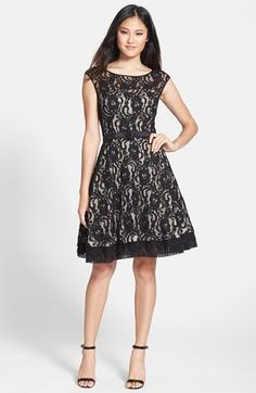 Free shipping and returns on Eliza J Illusion Yoke Lace Fit & Flare Dress at Nordstrom.com. Romantic floral lace is fashioned into a lovely fit-and-flare dress backed with light-hued lining for added dimension. The illusion yoke, cap sleeves and sheer hem further refine the look while a coordinating belt slims the waist.