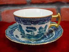 E & W Japan Blue/White Gold Trim Indian Tree DEMITASSE DEMI TASSE CUP & SAUCER