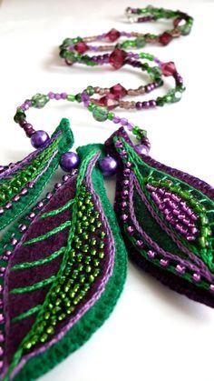 by Moka Vicka on Etsy...beautful embroidery...love the colors! felt - leaves