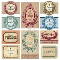 Buy vintage labels set (vector) by milalala on GraphicRiver. collection of vintage ornate labels; scalable and editable vector illustrations Soap Labels, Soap Packaging, Spice Labels, Printable Labels, Free Printables, Image Digital, Images Vintage, Vintage Pictures, Label Templates