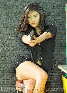 babes+with+guns | Lao Friends - Pretty Lao girl with a gun