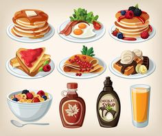 Buy Classic Breakfast Cartoon Set by moonery on GraphicRiver. Classic breakfast cartoon set with pancakes, cereal, toasts and waffles Cute Food, Yummy Food, Tasty, Food Cartoon, Cartoon Icons, Fast Food, Food Icons, Food Drawing, Food Illustrations