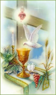 First Communion. Chalice and dove.