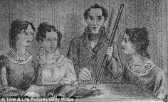 From a rough painting by Bramwell Bronte, representing himself and his three sisters, Charlotte, Emily and Anne in what has become to be known as the Gun Group Portrait
