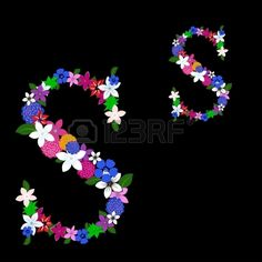 Floral alphabet letter for using in web and print design. Vector illustration.