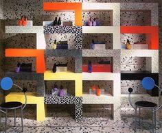 Espirit Store Interior 1985 Design by Ettore Sottsass S: sight unseen #memphisdesign #memphisinteriordesign #80sdesign #80sinterior #80scolors #neontalk #ettoresottsass #80sstore #80sstyle #80scolors by neontalk