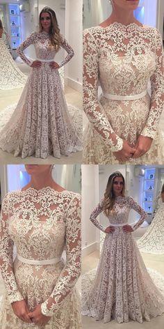 wedding dresses, elegant lace long sleeves wedding dresses,elegant cheap wedding dresses