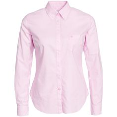 Morris Classic Oxford Shirt ($155) ❤ liked on Polyvore featuring tops, blouses & shirts, light pink, womens-fashion, shirts & tops, button front shirt, tall shirts, pink top and button front tops