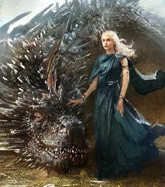 Daenerys Targaryen art from game of thrones Arte Game Of Thrones, Game Of Thrones Poster, Game Of Thrones Dragons, Got Dragons, Mother Of Dragons, Daenerys Targaryen Art, Game Of Throne Daenerys, Khaleesi, Jamie Lannister