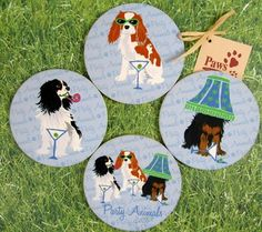 Cavalier King Charles Spaniel Party Animal Drink Coasters