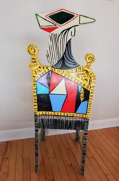 Funky Painted Furniture, Shades Of Red, Picasso, Purple, Blue Yellow, Upcycle, Garden Painting, Chair, Artist
