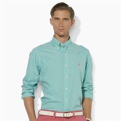 Polo Ralph Lauren Custom-Fit Tattersall Cotton Poplin Shirt #VonMaur #PoloRalphLauren #Green