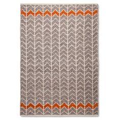 Mudhut™ Flatweave Chevron Area Rug - Gray/Orange