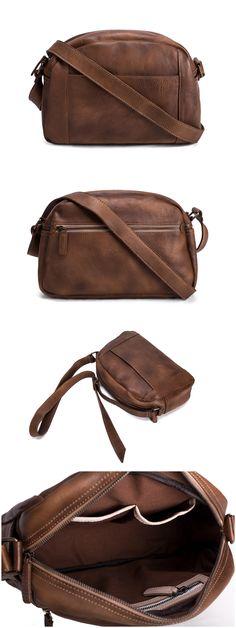 Handmade Vegetable Tanned Leather Men's Messenger Bag/ Crossbody Shoulder Bag…