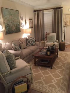 Neutral Den decor - Lacefield Designs and Schumacher Pillows