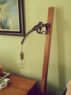 DIY: Vintage Edison style floor lamp from repurposed 1920s gas pump handle. Vintage lighting, DIY decor.