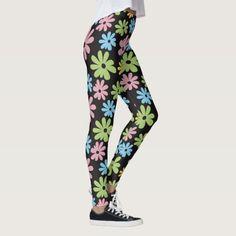 Vibrant color floral pattern leggings