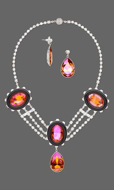 Triple-Strand Necklace and Earring Set with SWAROVSKI ELEMENTS and Cupchain