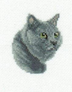Russian Blue Cat Cross Stitch Chart. $3.00, via Etsy. (Reminds me of our Smokey)