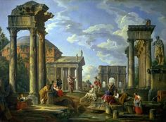 Roman Ruins with a Prophet, by Giovanni Paolo Panini
