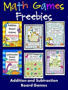 FREEBIES! Addition and Subtraction Math Board Games - Just print and play!