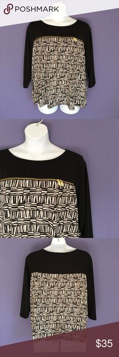 """Calvin Klein Printed Blouse This blouse is beautiful.  Pair with black pants or skirt.  For added interest, it has a gold zippered that goes across horizontally.  Measurements (Flat):  Length - 27""""/Bust - 27""""/Waist - 26"""" Calvin Klein Tops Blouses"""