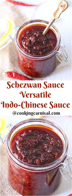 Homemade Schezwan Sauce, a fiery hot and spicy sauce made from lots of Red Dry Chili, garlic, ginger and some condiments. It is very popular Indo-Chinese. Indian Food Recipes, Asian Recipes, Vegetarian Recipes, Cooking Recipes, Chinese Recipes, Veggie Recipes, Best Sauce Recipe, Sauce Recipes, Recipe Box