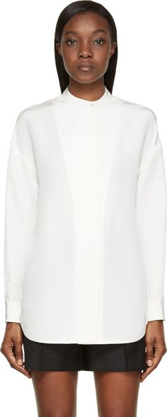 Alexander Wang - Ivory White Silk Crepe Tunic Blouse
