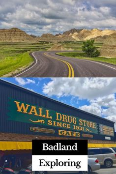 A very quirky road side attraction near Badlands National Park is the tourist attraction of Wall Drug. It all began with the idea to give away free ice water to attract road weary travelers and it has grown today to attraction 2 million visitors per year! Aptly located in Wall, South Dakota, Wall Drugs is not to be missed with visiting Badlands National Park. Badlands National Park, National Parks, Wall Drug, Western Art, South Dakota, Dream Vacations, Natural Stones, Places To Travel, Drugs